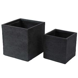 Gray Stone Square Composite MgO Planters (2-Piece)
