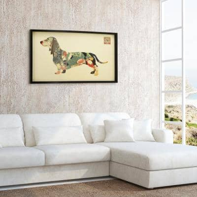 """25 in. x 48 in. """"Dachshund"""" Dimensional Collage Framed Graphic Art Under Glass Wall Art"""