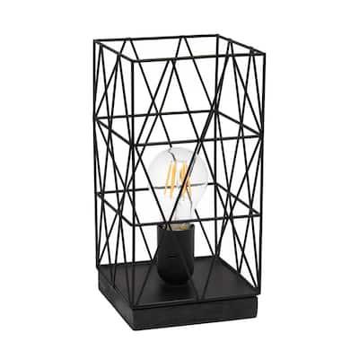 10.25 in. Black Geometric Square Metal Table Lamp