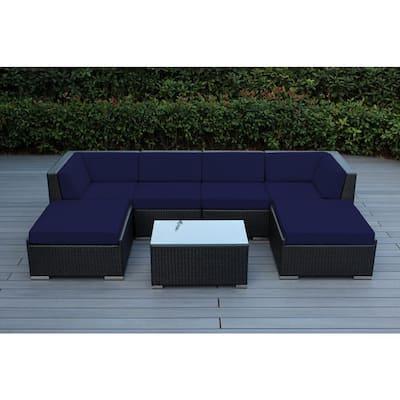 Ohana Black 7-Piece Wicker Patio Seating Set with Sunbrella Navy Cushions