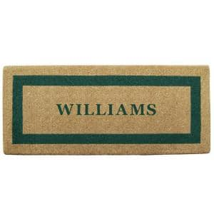 Single Picture Frame Green 24 in. x 57 in. Heavy Duty Coir Personalized Door Mat