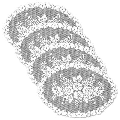 Victorian Rose 13 in. x 20 in. White Placemat (Set of 4)