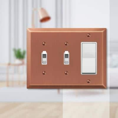 Metallic 3 Gang 2-Toggle and 1-Rocker Steel Wall Plate - Antique Copper
