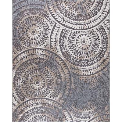 Spiral Medallion Cool Gray Tones 5 ft. x 7 ft. Area Rug