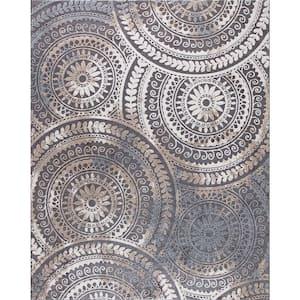 Spiral Medallion Gray 7 ft. x 9 ft. Geometric Area Rug