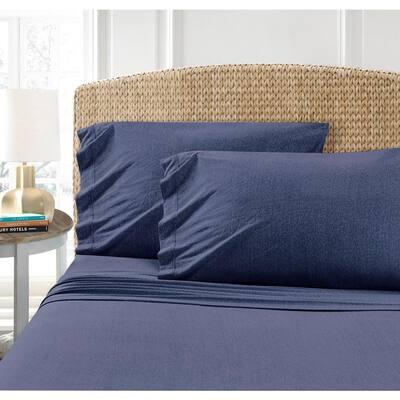 Cotton Blend T-Shirt Jersey Sheet 2PK Pillowcase Set, Indigo