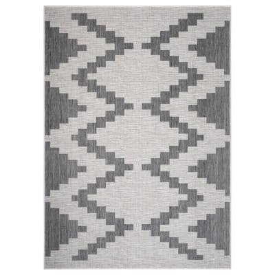 Kilimanjaro Gray/White 5 ft. 3 in. x 7 ft. Muted Southwestern Geometric Polypropylene Indoor/Outdoor Area Rug
