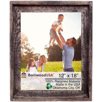 Rustic Farmhouse Signature Series 12 in. x 18 in. Smoky Black Reclaimed Picture Frame