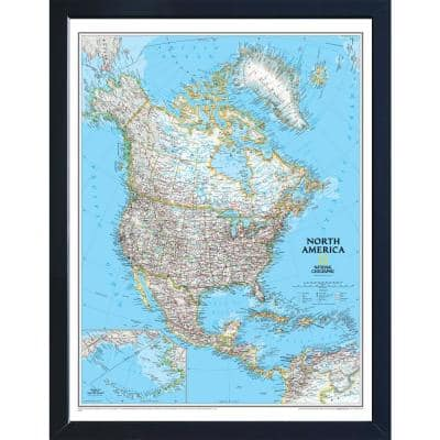 National Geographic Framed Interactive Wall Art Travel Map with Magnets - North America Classic