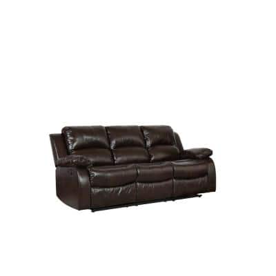 Charlie 82 in. Brown Solid Leather 3 Seater Motion Sofa