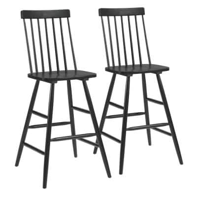 Ashley 46.9 in. Black Solid Rubberwood 46.9 in. Bar Stool with Seat (Set of 1)