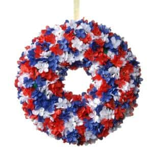 14 in. Patriotic Hydrangea Wreath