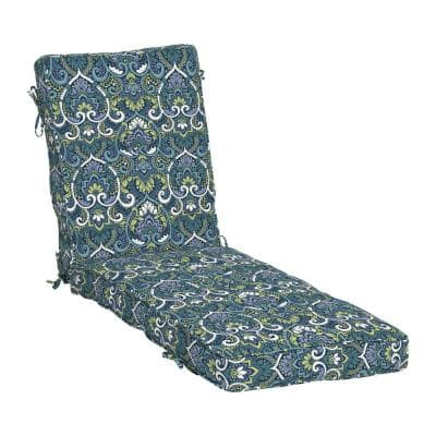 Plush BlowFill 22 in. x 30 in. Outdoor Chaise Lounge Cushion in Sapphire Aurora Blue