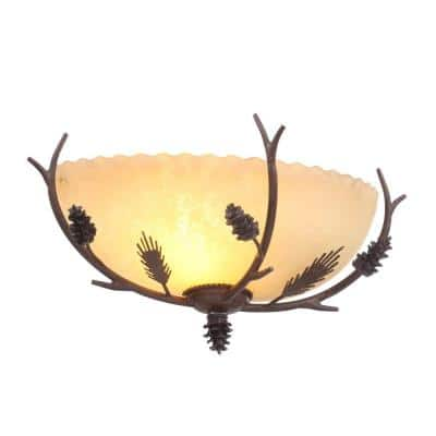 Lodge 1-Light Weathered Spruce Sconce with Textured Sunset Glass Shade
