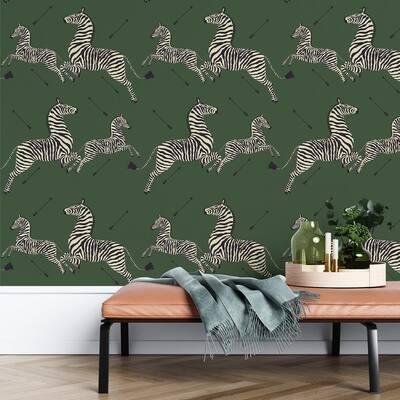 Serengeti Green Zebra Safari Self Adhesive Wallpaper