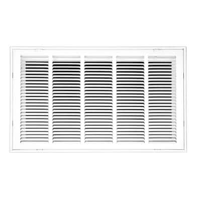 25 in. Wide x 14 in. High Return Air Filter Grille of Steel in White