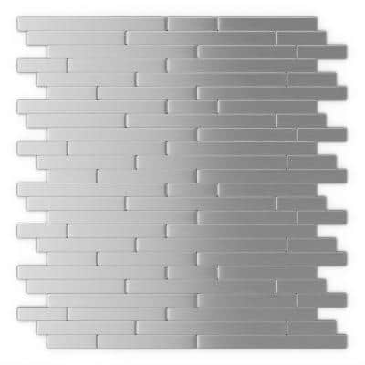 Linox Stainless Steel 12.09 in. x 11.97 in. x 5 mm Brushed Metal Self-Adhesive Wall Mosaic Tiles (24 sq. ft. /case)