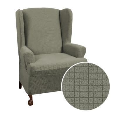 Reeves Stretch Moss Gray 1-Piece Wing Chair Slipcover