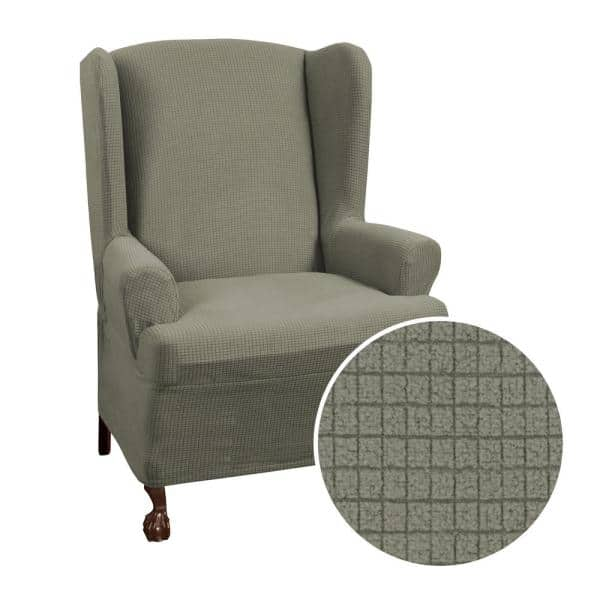 1 Piece Wing Chair Slipcover, Grey Wingback Chair Slipcover