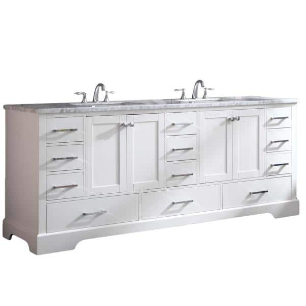 Eviva Storehouse 84 In W X 22 In D X 34 In H Vanity In White With Carrara Marble Vanity Top In White With White Basin Evvn416 84wh The Home Depot