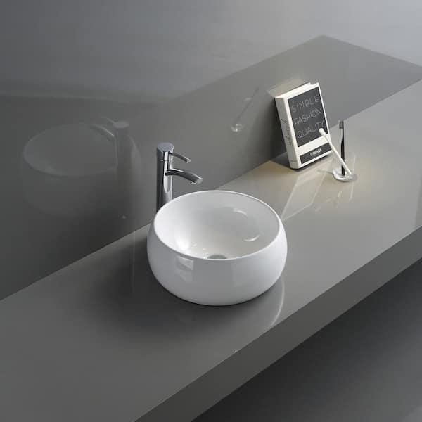 Ruvati 12 In Above Vanity Counter Bathroom Porcelain Ceramic Vessel Sink In White Rvb0312 The Home Depot