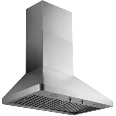 Pro Series 36 in. 1000 CFM Ducted Wall Mount Range Hood in Stainless Steel with LED Lights