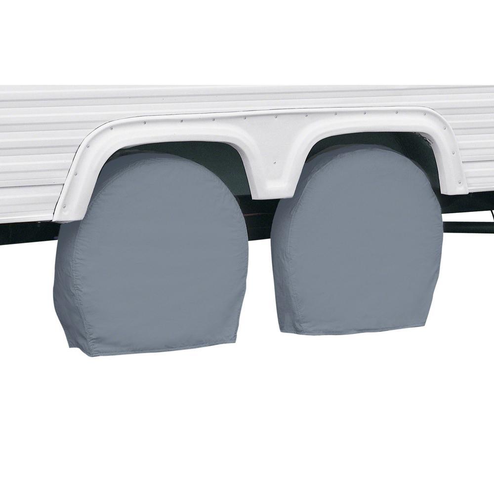 "Grey RV Wheel Covers, 30"" - 33"" Diameter, 9"" Tire Width"