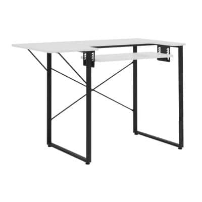 Dart MDF Sewing Machine Table with Adjustable Dropdown Platform and Folding Side Shelf in Charcoal Black / White