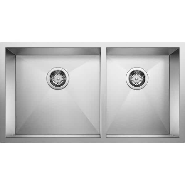 Blanco Quatrus R0 Undermount Stainless Steel 33 In 60 40 Double Bowl Kitchen Sink 518169 The Home Depot