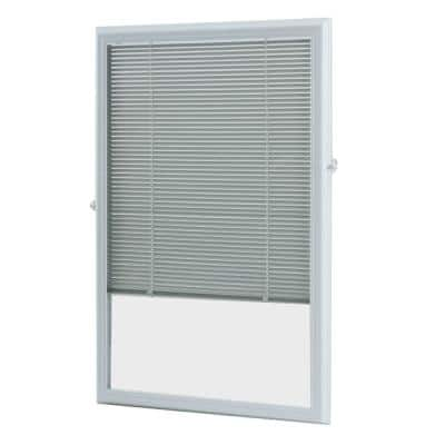 22 in. x 36 in. Add-On Enclosed Aluminum Blinds in White for Steel and Fiberglass Doors with Raised Frame Around Glass