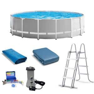 15 ft. x 48 in. Round Frame Pool Set with CoverTaylor Chlorine pH Alkaline Test Kit