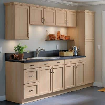 Easthaven Shaker Assembled 18x84x24.63 in. Frameless Pantry/Utility Cabinet in Unfinished Beech
