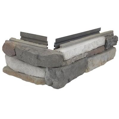Easy Stack 5 in. x 12 in. To 19 in. Grayson No Mortar Concrete Ledge Stone Corner 1.6 lin. ft. per box