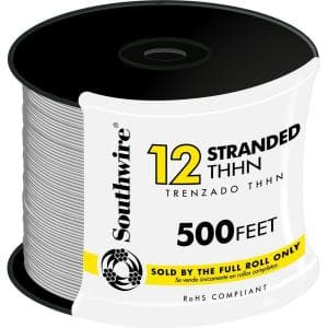 500 ft. 12-Gauge White Stranded CU THHN Wire
