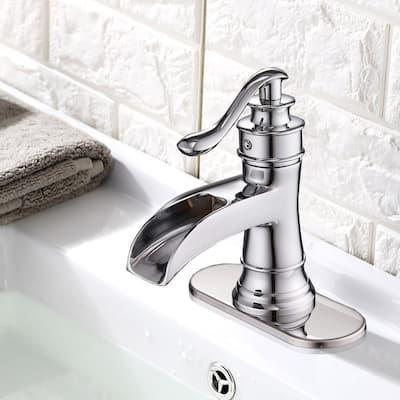 Single Hole Single-Handle Sleek Stylish Bathroom Faucet in Polished Chrome (Valve Included)
