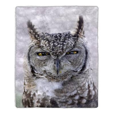 Multi-Color Owl Print Sherpa Fleece Blanket