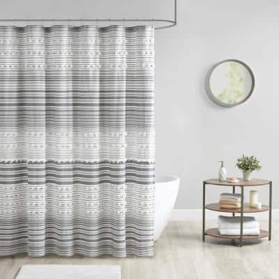 Charlie Grey 70 in. x 72 in. Cotton Yarn Dye Shower Curtain with Pom Poms