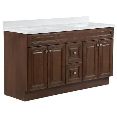 Glensford 61 in. W x 22 in. D Vanity in Butterscotch with Cultured Marble Vanity Top in White with White Sinks