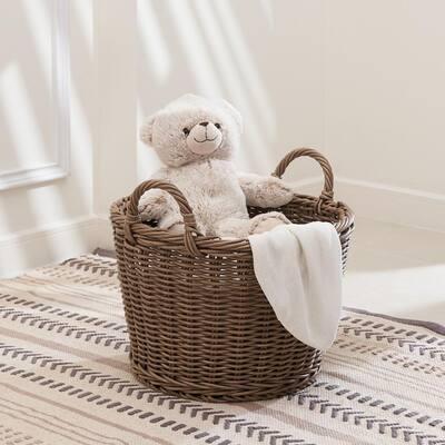 Mila Medium Stackable Resin Round Storage and Decorative Basket Set