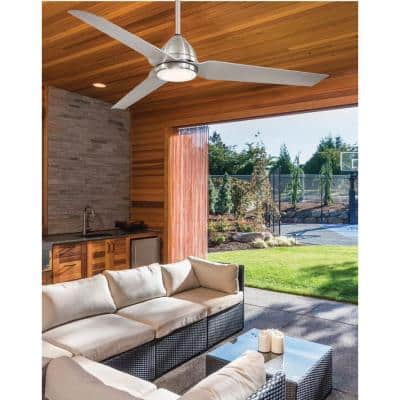 Java 54 in. Integrated LED Indoor/Outdoor Brushed Nickel Wet Ceiling Fan with Light and Remote Control