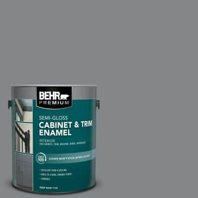 1 gal. #N500-5 Magnetic Gray color Semi-Gloss Enamel Interior Cabinet and Trim Paint