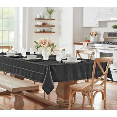 52 in. W x 70 in. L Black Elegance Plaid Damask Fabric Tablecloth