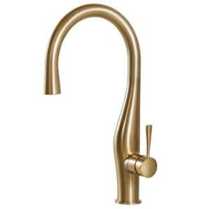 Vision Single-Handle Pull Down Sprayer Kitchen Faucet with Hidden Pull Down and CeraDox Technology in Brushed Brass