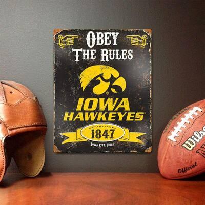 14.5 in. H x 11.5 in. D Heavy Duty Steel Iowa Hawkeyes Embossed Metal Sign Wall Art