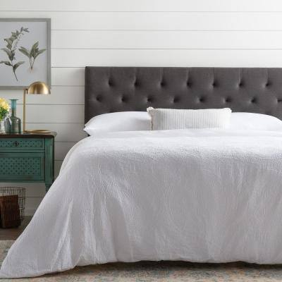 Emmie Adjustable Charcoal Queen Upholstered Low Profile Headboard with Diamond Tufting