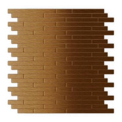 Take Home Sample -Wally Dark Copper 4 in. x 4 in. Metal Peel and Stick Wall Mosaic Tile (0.11 sq. ft.)