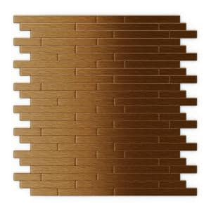 Wally Dark Copper 12.09 in. x 11.97 in. x 5 mm Metal Self-Adhesive Wall Mosaic Tiles (24 sq. ft./Case)