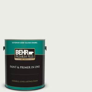 Behr Ultra 1 Gal Ultra Pure White Semi Gloss Enamel Exterior Paint And Primer In One 585001 The Home Depot