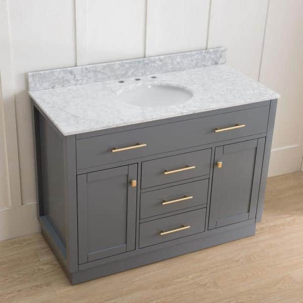 Sunjoy Gaia Blue Gray 48 In W X 22 05 In D X 35 75 In H Shaker Style Bathroom Vanity With Marble Vanity Top And Single Basin B301010000 The Home Depot