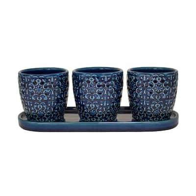 12 in. Blue Mediterranean Bell Ceramic Trio Planter